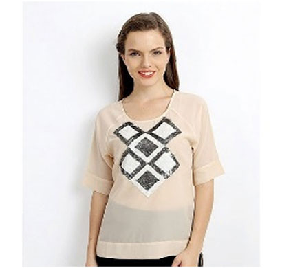silver ladies casual top (peach)