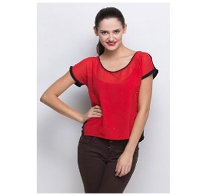 silver ladies half sleeve casual top (red)