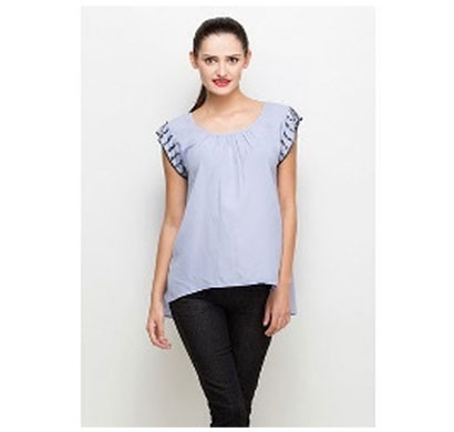 silver ladies polyester elegant top (blue)
