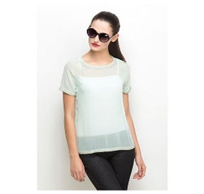 silver ladies elegant stylish top (white)