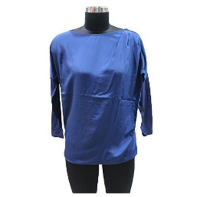 silver ladies plain shoulder zipper top (blue)
