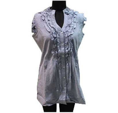 silver ladies sky blue cotton top