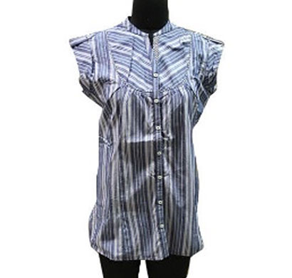 silver ladies blue cotton stripe top (blue)