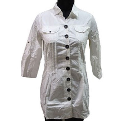 silver ladies white cotton tunic top (white)
