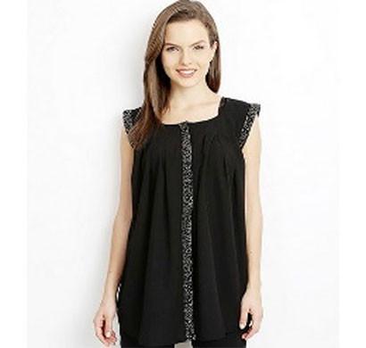 silver black designer ladies half sleeve shirt (black)