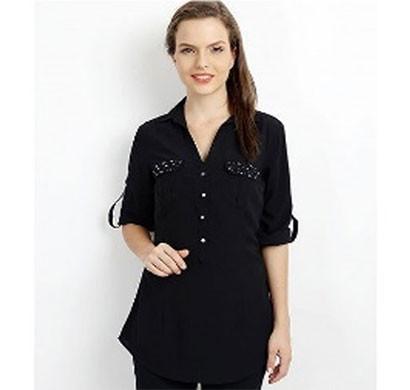 silver ladies crystal pocket shirt (black)