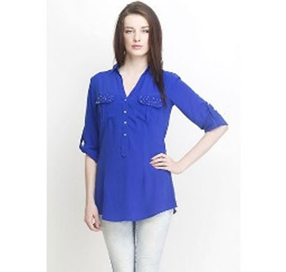 silver ladies blue stylish shirt (blue)