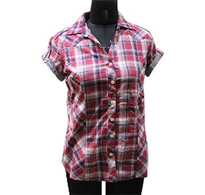 silver ladies cotton red check stripe shirt (red)