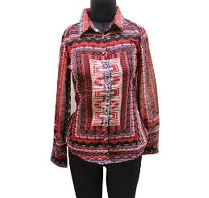 silver ladies red printed shirt (red)