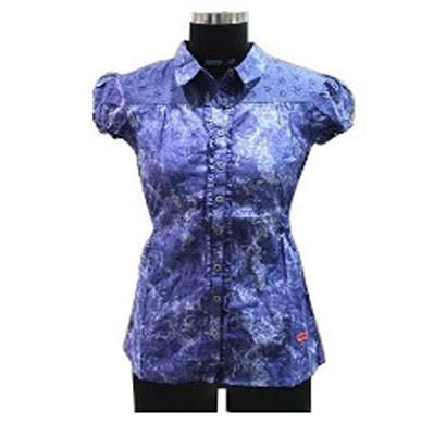 silver ladies blue printed cotton shirt (blue)