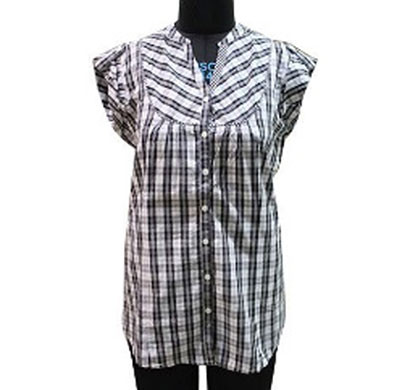 silver ladies black and white cotton stripe shirt (black)