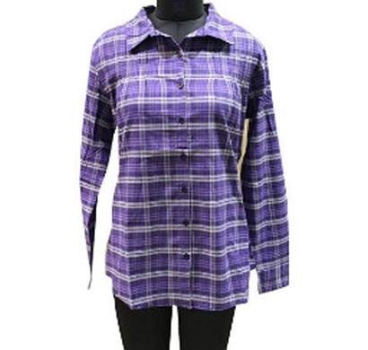 silver ladies cotton purple check shirt (purple)