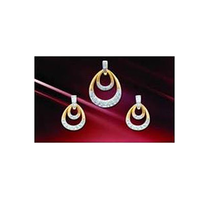 siyona double drop jewellery set gold and rhodium plating