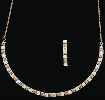 siyona square-studded crystal set jewellery gold plated chain