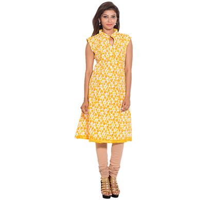 sml originals- sml_698, beautiful stylish 100% cotton kurti, m size, yellow