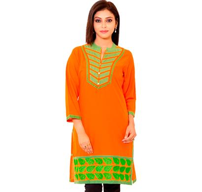 sml originals- sml_3004, beautiful stylish 100% cotton kurti, s size, orange