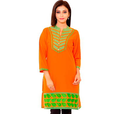 sml originals- sml_3004, beautiful stylish 100% cotton kurti, l size, orange