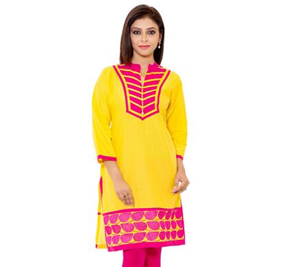 sml originals- sml_3004, beautiful stylish 100% cotton kurti,s size, yellow