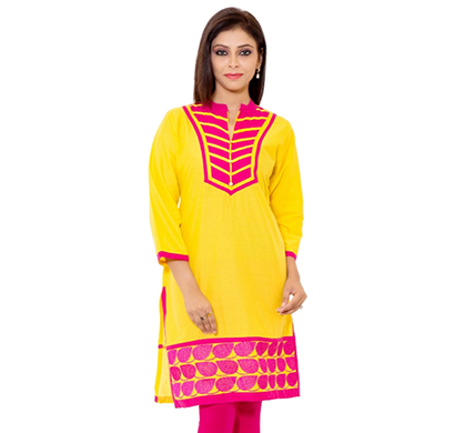 sml originals- sml_3004, beautiful stylish 100% cotton kurti, m size, yellow