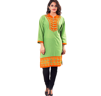sml originals- sml_3004, beautiful stylish 100% cotton kurti, m size, green&orange