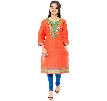 sml originals- sml_3029,beautiful stylish 3/4 sleeve cotton kurti with embroidery, (orange-green)