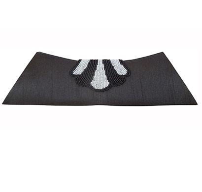 spice art women's black handmade beaded silk clutch