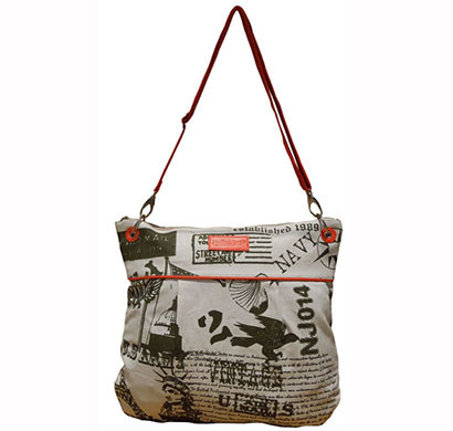 spice art casual white orange canvas sling bag