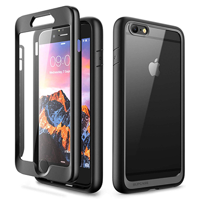 supcase (b07gr3c3zq) iphone 6 plus case, unicorn beetle style series hybrid protective clear case cover with built-in screen protector for iphone 6 plus (black)