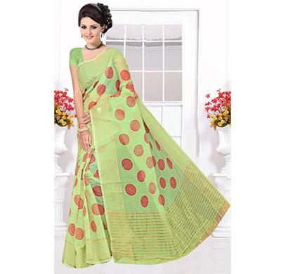 suruchi boutique women's green cotton saree 6 pcs (1set )