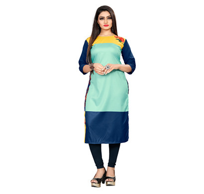 textile fab tf-20 women's crepe digital printed straight cut kurti
