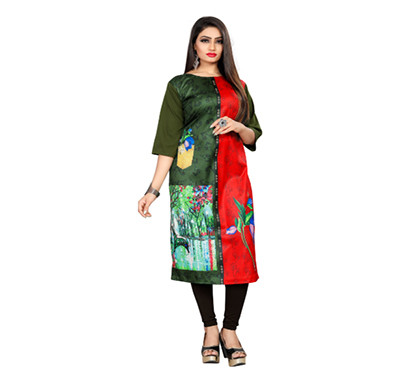 textile fab tf-18 women's crepe digital printed straight cut kurti