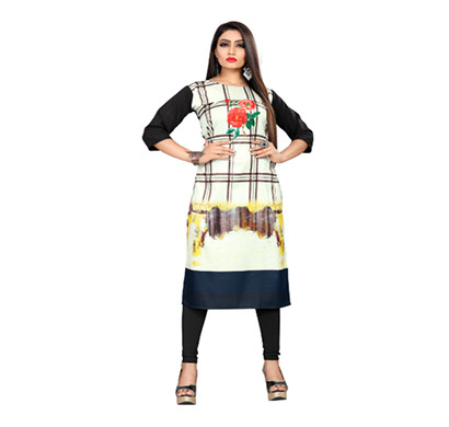textile fab tf-17 women's crepe digital printed straight cut kurti