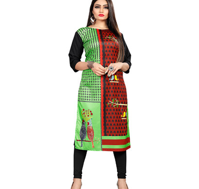 textile fab tf-16 women's crepe digital printed straight cut kurti