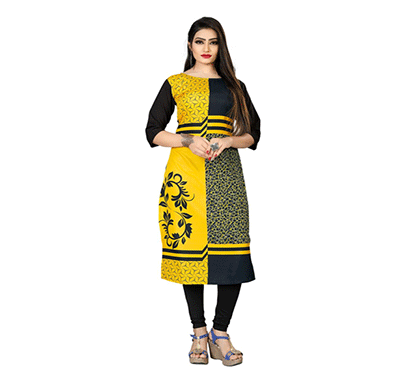 textile fab tf-22 women's crepe digital printed straight cut kurti