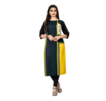 textile fab tf-30 women's crepe digital printed straight cut kurti