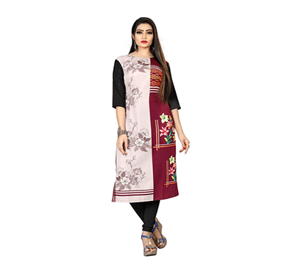 textile fab tf-24 women's crepe digital printed straight cut kurti