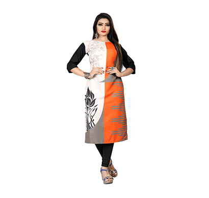 textile fab tf-28 women's crepe digital printed straight cut kurti