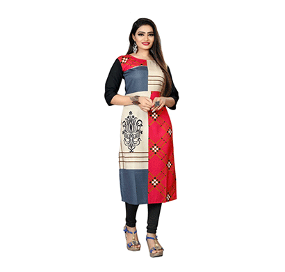textile fab tf-29 women's crepe digital printed straight cut kurti