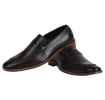 the leather box (9014) calf leather debonair choco cognac loafer with black trims shoes