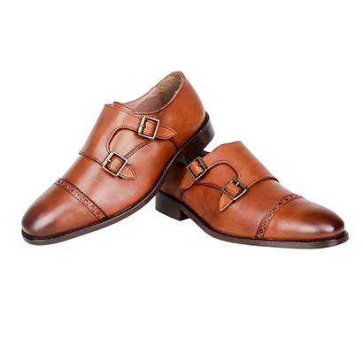 the leather box (33497) calf leather the artistic tan double monkstrap mens shoes