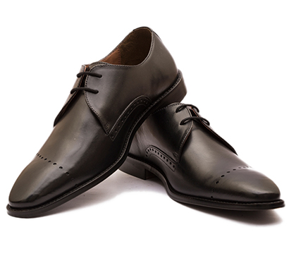 the leather box (33975) calf leather the meticulous linear brogued black derby mens shoes