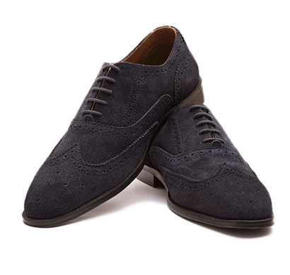 the leather box (33563) calf leather the blue blooded navy suede oxford mens shoes