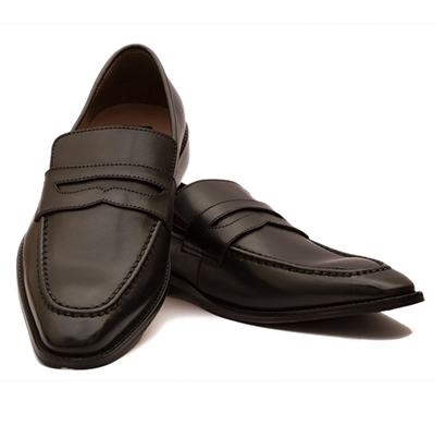 the leather box (33977) calf leather the urbane black penny loafers mens shoes