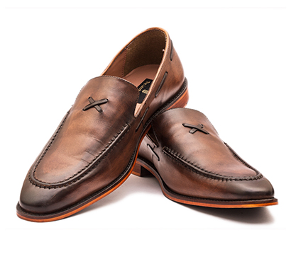 the leather box (33976_new sole) calf leather the sublime tan tapered loafers mens shoes