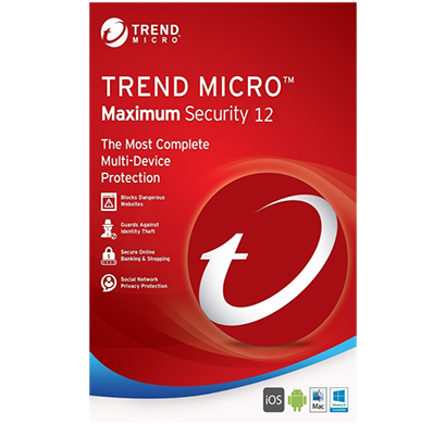 trend micro maximum security 12(2018) 3 pc's- 1 year subscription pc/mac media less download