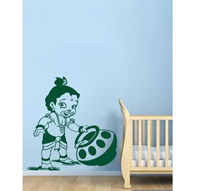enormous kart on wall medium natkhat krishna spiritual sticker (pack of 1)