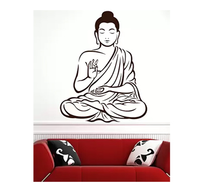 enormous kart lord buddha on wall medium spiritual sticker (pack of 1)