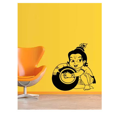 enormous kart makhan chor kanha on wall medium spiritual sticker (pack of 1)