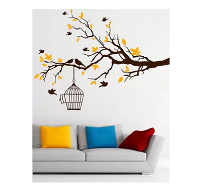 enormous kart bird tree home on wall large self adhesive sticker (pack of 1)