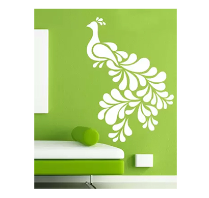 enormous kart beautiful peacock on wall medium animal sticker (pack of 1)